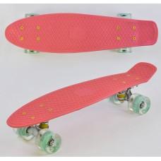 Детский Скейт Пенни борд Penny board со светящимися колесами из PU, ABEC-7, до 70кг, коралловый 55х14.5см
