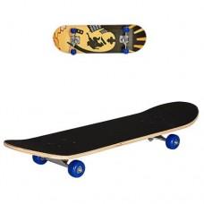 Детский деревянный скейт, подшипники 608 Z, размер 78х20 см, нагрузка 40 кг Светофор, синие колеса арт. 0322-2