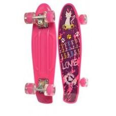 Скейт (пенни борд) Penny board со светящимися колесами РОЗОВЫЙ АБСТРАКЦИЯ арт. 0749