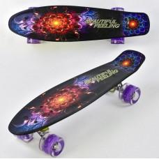 Детский Скейт (пенни борд) Penny board со светящимися колесами 56х14.5 см, до 70 кг АБСТРАКЦИЯ арт. 8740/99160