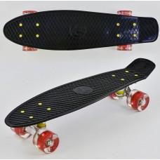 Детский Скейт Пенни борд Penny board со светящимися колесами из PU, ABEC-7, вес до 70кг, черный 55х14.5см