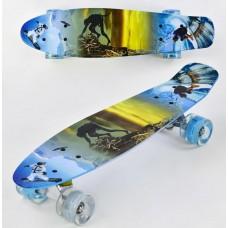 Детский Скейт (пенни борд) Penny board со светящимися колесами 56х14.5 см до 70 кг ФИОЛЕТОВЫЙ арт. 3270/99160