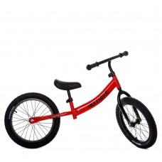 Беговел Profi для детей регулировка сиденья по высоте, надувные колеса 16 дюймов - металлические спицы красный
