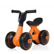 Беговел Толокар для малышей от 1.5 лет со светящейся фарой и музыкой, диаметр колес 17см оранжевый 56х29х39см