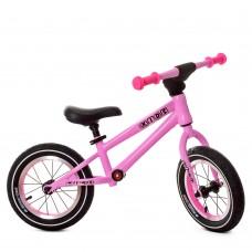 Беговел Profi с надувными колесами HedyCute 12 дюймов с подшипниками, стальная рама, высота руля 57см, розовый