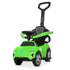 Детский Электромобиль Каталка-Толокар с музыкальным рулем, светом фар и родительской ручкой, до 25кг, зеленый*