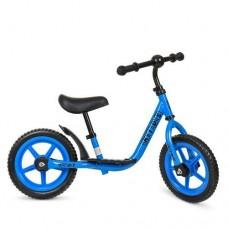 Беговел Profi для детей, регулировка сиденья по высоте, стальная рама, надувные колеса EVA 12 дюймов, голубой