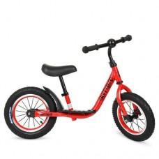 Беговел Profi для детей, регулировка сиденья до 43 см с резиновыми надувными колесами 12 дюймов, красный
