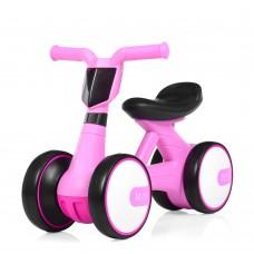 Беговел Толокар для малышей от 1.5 лет со светящейся фарой и музыкой, диаметр колес 17см, розовый 56х29х39см