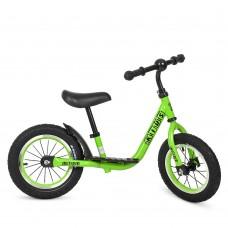 Беговел Profi стальная рама, регулировка сиденья по высоте с резиновыми надувными колесами 12 дюймов, зеленый