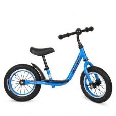 Беговел Profi с резиновыми надувными колесами 12 дюймов, стальная рама, регулировка сиденья до 43 см, синий