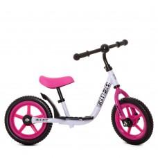 Детский Беговел Profi стальная рама, регулировка сиденья по высоте, колеса EVA, 12 дюймов, белый-розовый