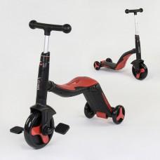 Детский самокат - беговел - велосипед (3 в 1), Best Scooter, размер самоката 74-22-57 см, красный цвет арт. 28288