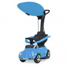 Детский Электромобиль-Каталка с родительской ручкой Volkswagen Beetle с музыкой, до 20 кг, голубой арт. 618-4*