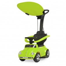 Детский Электромобиль-Каталка с родительской ручкой Volkswagen Beetle с музыкой, до 20 кг, зеленый арт. 618-5*