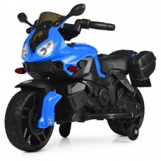 Дитячий Мотоцикл-електромобіль Bambi, з музикою, фарами, що світяться, до 20 кг, 87х42х55 см, синій-чорний*