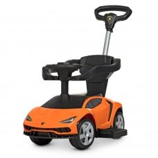 Детский Электромобиль Каталка-Толокар Bambi Porsche с музыкальной панелью и родительской ручкой, оранжевый