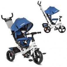 Велосипед Детский Трёхколёсный с корзиной, TurboTrike, колеса EVA на подшипниках, козырек, синий арт. 3113J-7*