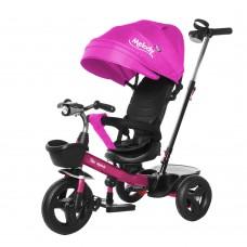 Велосипед Трехколесный с надувными колесами 8-10 дюймов, 2 тормоза, музыкальная панель - Tilly Melody малиновый*