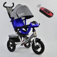 Детский Трехколесный Велосипед надувные колеса, поворотное сиденье, фара, Best Trike синий арт. 7700-3904