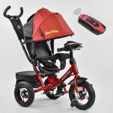 Детский Трехколесный Велосипед надувные колеса, поворотное сиденье, фара, Best Trike красный арт. 7700В-1244