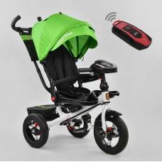 Детский Трехколесный Велосипед с надувными колесами, поворотное сидение, фара, пульт, зеленый арт. 6088-1990*
