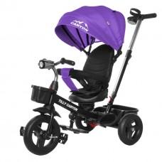 Велосипед Трехколесный с надувными колесами 8-10 дюймов родительская ручка, 2 тормоза - Tilly Canyon фиолетовый*