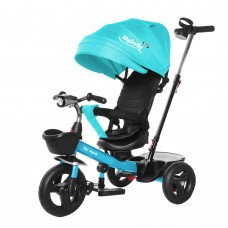 Велосипед Трехколесный с надувными колесами 8-10 дюймов, 2 тормоза музыкальная панель - Tilly Melody бирюзовый*