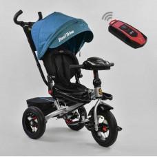 *Велосипед детский 3-х колёсный (надувные колёса, поворотное сидение, фара, пульт), синий цвет арт. 6088-1670