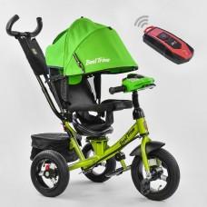 Детский Трехколесный Велосипед надувные колеса, поворотное сиденье, фара, Best Trike зеленый арт. 7700-2550