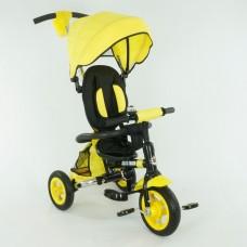 *Велосипед детский 3-х колёсный с надувными колесами (на подшипниках) и корзинкой, TurboTrike, желтый арт. 668