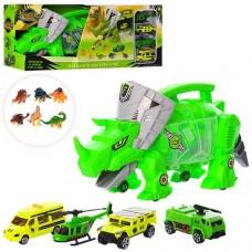 Игровой набор для мальчиков Трейлер на колесах Динозавр с ручкой для переноски, 3 машины, вертолет, динозавры