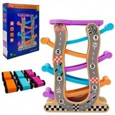 Игровой Развивающий Автомобильный трек для малышей на деревянной основе с 6 машинками, 7 уровней спуска