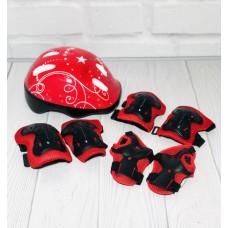 Комплект детской Защиты со шлемом для спортивных занятий: наколенники, налокотники и защита запястий, красный