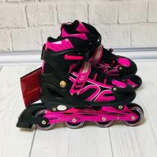 Ролики на липучке и шнурках, Profi, колёса с подшипниками (полиуретан), L 39-42, черно-малиновые арт. 12098 43410-06 lvt-12098black-pink