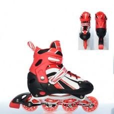 Ролики на липучке и шнурках, ТМ Profi, колёса с подшипниками (полиуретан), размер L 39-42, красные арт. 16112 43420-06 lvt-16112black-red