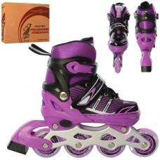 Детские раздвижные Ролики: светящиеся колеса PU диаметр 6.4см, АВЕС7, S (31-34) стелька от 18см, фиолетовый