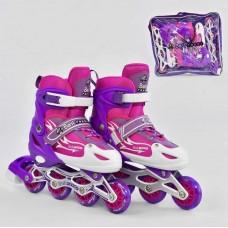 Ролики детские со светящиеся колеса, ТМ Best Roller, колёса PU, размер 38-41, розовые арт. 25518/08833 44221-06 lvt-25518/08833