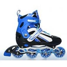 Ролики на липучке и шнурках, Profi, колёса с подшипниками (полиуретан), размер L 39-42, черно-синие арт. 16112 43421-06 lvt-16112black-blue