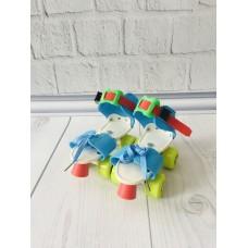 Детские Раздвижные ролики Квады для новичков с желтыми колесами, стелька 16-21 см, диаметр колес 4.5см