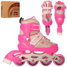 Детские раздвижные Ролики: алюминиевая рама, колеса PU, пластиковые ботинки, АВЕС7, S (31-34) бело-розовый