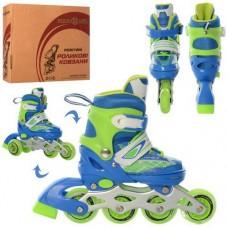 Детские раздвижные Ролики: светящиеся колеса PU D=6.4см, АВЕС7, XS (27-30) стелька от 16см, синий-зеленый