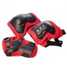 Набор детской Защиты на липучках для спортивных занятий: наколенники, налокотники и защита запястий, красный
