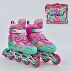 Ролики детские со светящимся передним колесом, BestRoller, колёса PU, размер 38-41, розово-бирюзовые арт. 25520/04482 44272-06 lvt-25520/04482