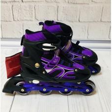 Ролики на липучке и шнурках, Profi, колёса с подшипниками (полиуретан), размер L 39-42, фиолетовые арт. 12098 43412-06 lvt-12098violet