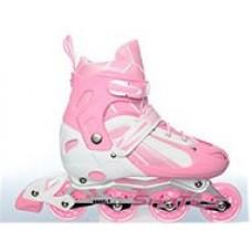 Ролики  на липучке и шнурках, ТМ Profi, колёса с подшипниками (полиуретан), размер 39-42, розовые арт. 16112 43422-06 lvt-16112pink