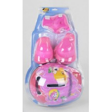 Комплект Детская Защита и шлем для спортивных занятий: наколенники, налокотники и защита запястий, розовый