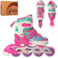 Детские раздвижные Ролики: светящиеся колеса PU диаметр 6.4см, АВЕС7, S (31-34) стелька от 18см, белый-розовый