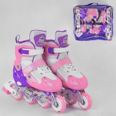 Детские Ролики для девочек: алюминиевая рама, колеса PVC, светящееся колесо, АВЕС7, размер M (34-37) - розовые