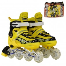 Ролики детские со светящимся передним колесом, ТМ Best Roller, колёса PU, размер 35-38, желтый цвет арт. 24832 43533-06 lvt-24832Myellow